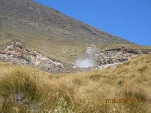 Smoke coming out of Ketetahi Geyser