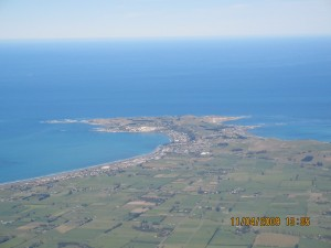 View of the Kaikoura town - surprisingly it is shaped like a whale tail